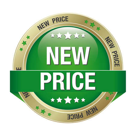 percentage sign: new price green gold button isolated background Illustration