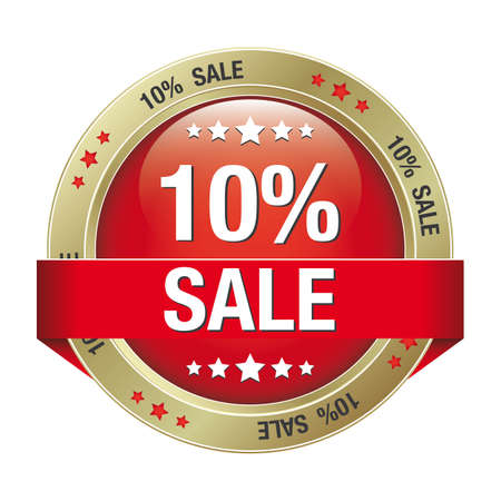 markdown: 10 percent red gold button isolated background