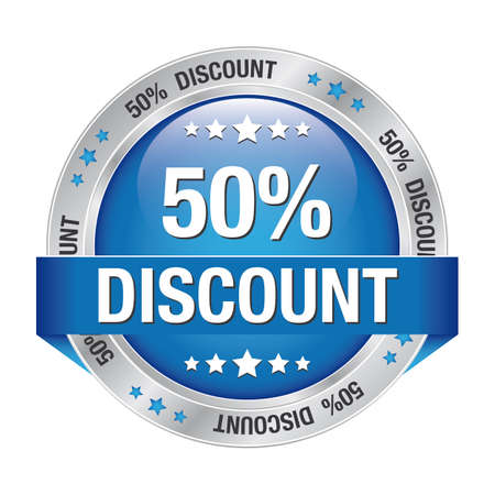 markdown: 50 discount blue silver button isolated background