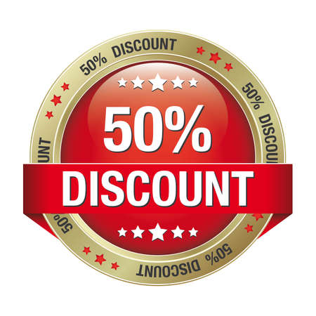 50: 50 discount red gold button isolated background