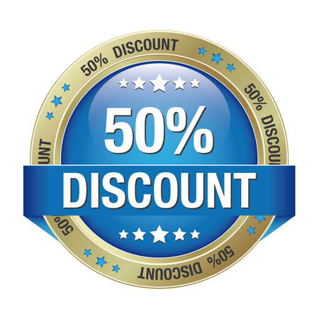 markdown: 50 discount blue gold button isolated background