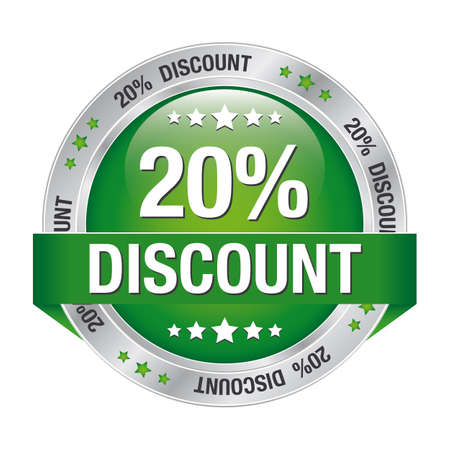 20 discount green silver button isolated background Vector
