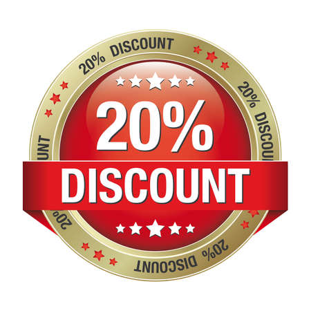 20: 20 discount red gold button isolated background