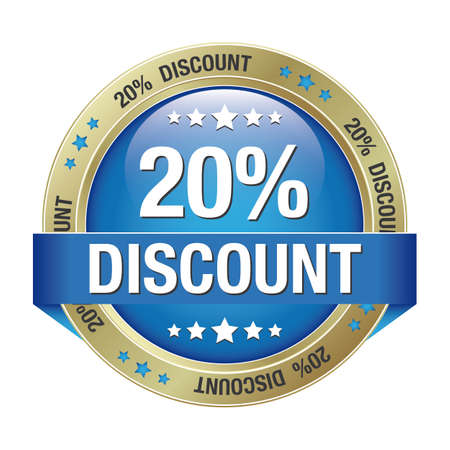 discount banner: 20 discount blue gold button isolated background
