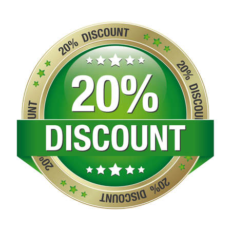 markdown: 20 discount green gold button isolated background Illustration