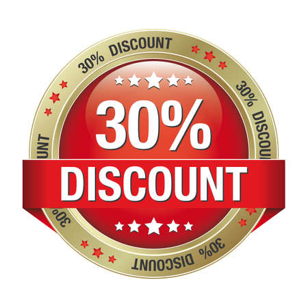 30 percent discount red gold button isolated Vector