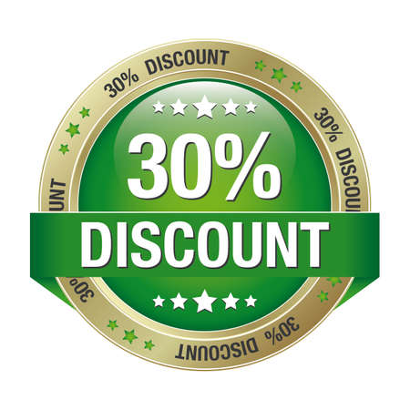 30 percent discount green gold button isolated Stock Vector - 17104262
