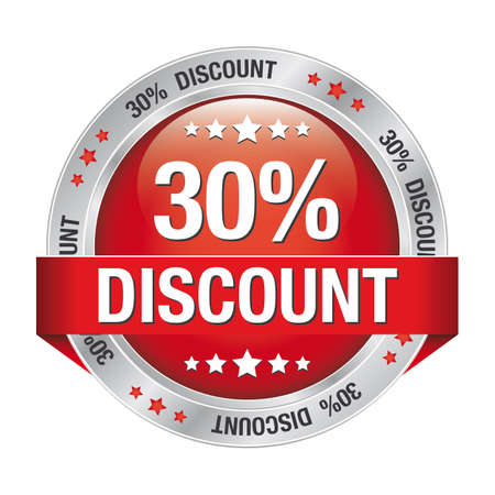 discount banner: 30 percent discount red silver button isolated