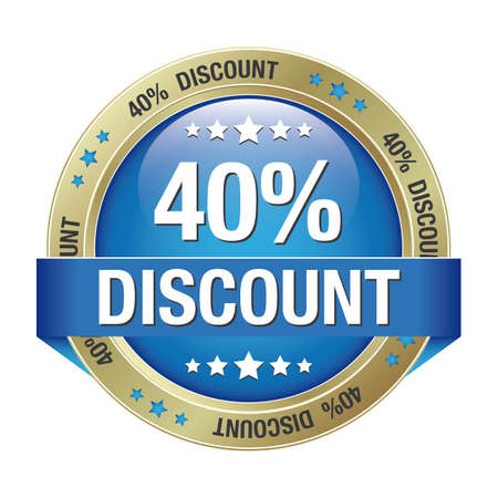 blue buttons: 40 percent discount blue gold button isolated Illustration