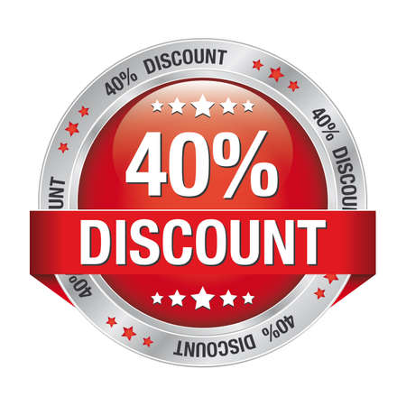 markdown: 40 percent discount red silver button isolated Illustration