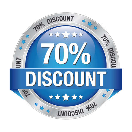70: 70 percent discount blue silver button isolated