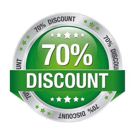 70 percent discount green silver button isolated Vector