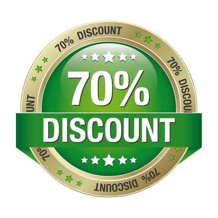 70 percent discount green gold button isolated Stock Vector - 17104220