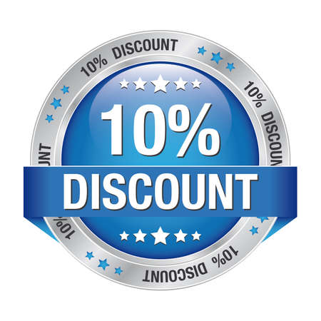 10 percent discount blue silver button isolated Illustration
