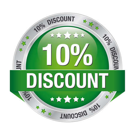 markdown: 10 percent discount green silver button isolated
