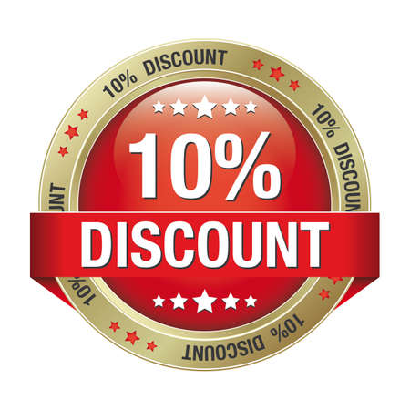 10 percent discount red gold button isolated