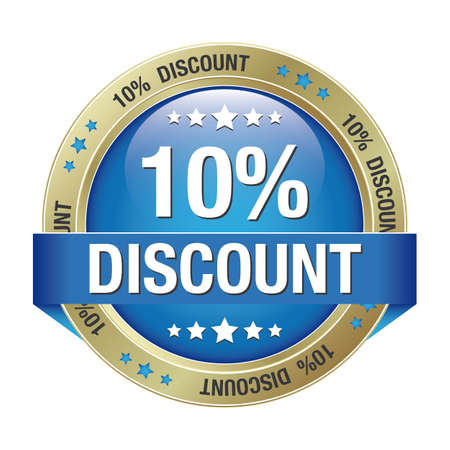 10 percent discount blue gold button isolated Vector
