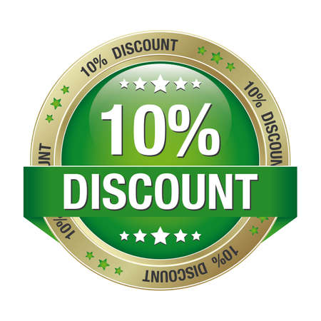 markdown: 10 percent discount green gold button isolated