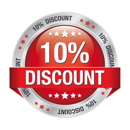 discount buttons: 10 percent discount red silver button isolated