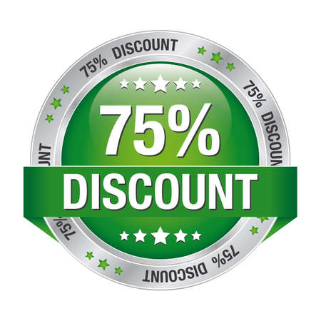 75 discount green silver button isolated background Vector