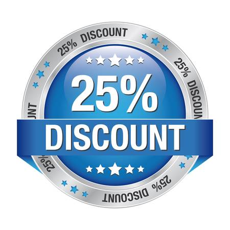 markdown: 25 discount blue silver button isolated background Illustration