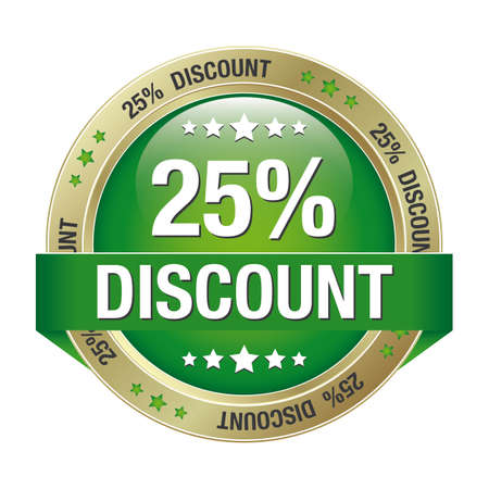 markdown: 25 discount green gold button isolated background