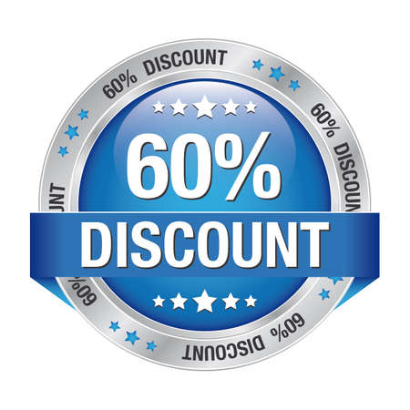 60 percent discount blue silver button isolated Stock Vector - 17104244