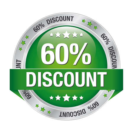 60 percent discount green silver button isolated Vector