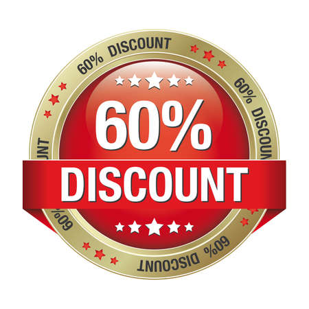 60 percent discount red gold button isolated Vector