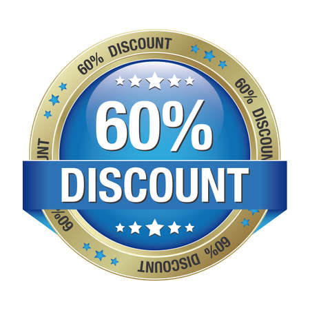 60 percent discount blue gold button isolated Vector