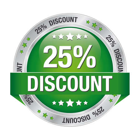 markdown: 25 discount green silver button isolated background