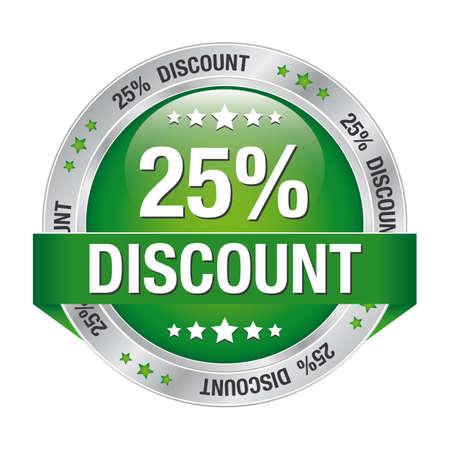 25 korting groene zilveren knoop geà ¯ soleerde achtergrond Stock Illustratie
