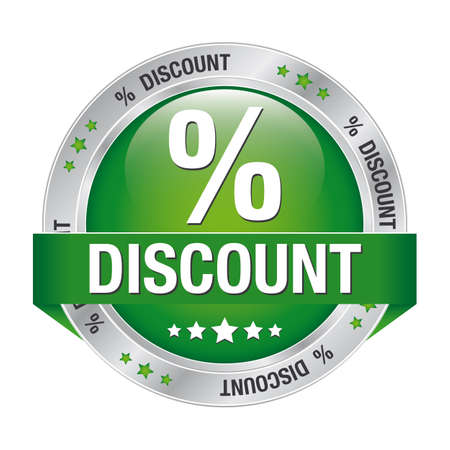 percent discount green silver button isolated background Illustration