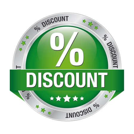 procent korting groen zilver knop geà ¯ soleerd achtergrond