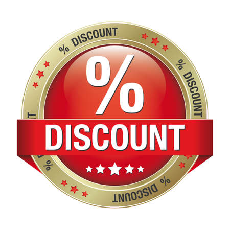 percent discount red gold button isolated background Vector