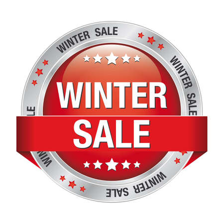 markdown: sale winter silver red button isolated background