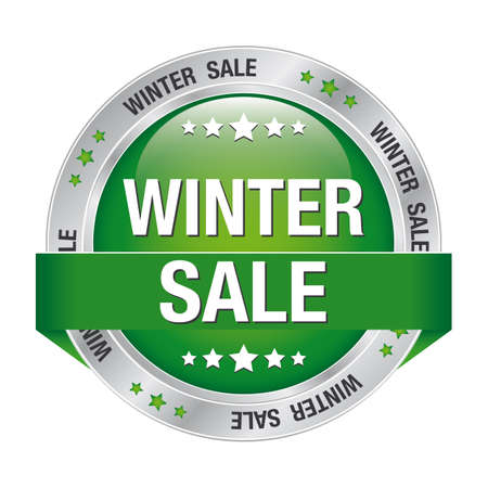 sale winter green silver button isolated background Vector