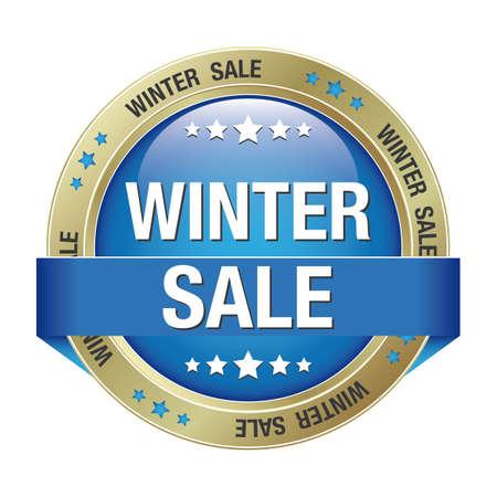 verkoop winter blauwe goud knop geà ¯ soleerd achtergrond Stock Illustratie