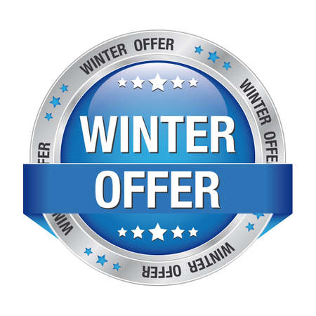 winter offer silver blue button isolated background Stock Vector - 17329991