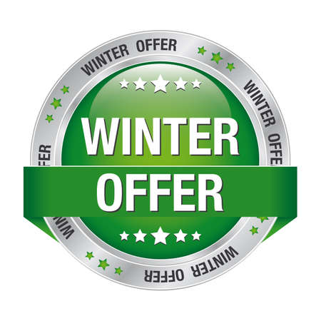 winter offer green silver button isolated background Vector