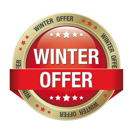 save button: winter offer gold red button isolated background Illustration