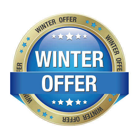 new product: winter offer blue gold button isolated background Illustration