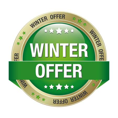 winter offer green gold button isolated background Stock Vector - 17329705