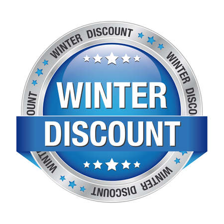 winter discount blue silver button isolated background Stock Vector - 17342215