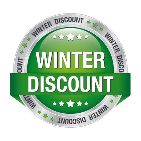 winter discount green silver button isolated background Vector