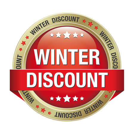 winter discount red gold button isolated background Stock Vector - 17342197