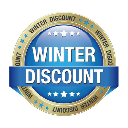 markdown: winter discount blue gold button isolated background