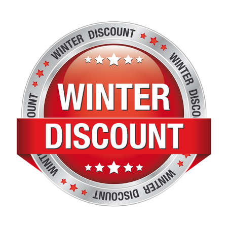 winter discount red silver button isolated background Stock Vector - 17342198