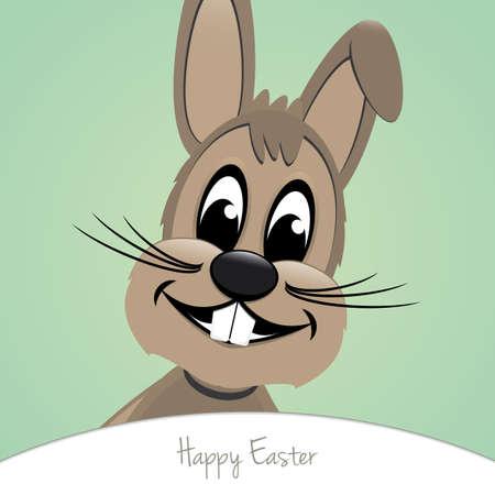 brown happy easter bunny look green background Vector