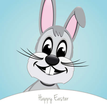 gray happy easter bunny look blue background Stock Vector - 17756440